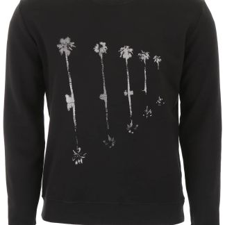SAINT LAURENT PALMS PRINT SWEATSHIRT XS Black, Silver Cotton