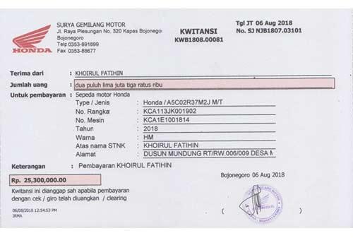 Contoh Kwitansi Jual Beli Motor