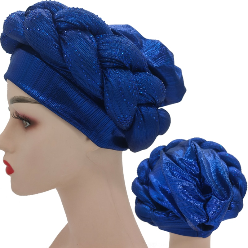 Latest aso oke auto gele Headtie Women Turban Cap with Braids Muslim Head Scarf Bonnet Ladies Head Wraps Diamonds Turbante Mujer