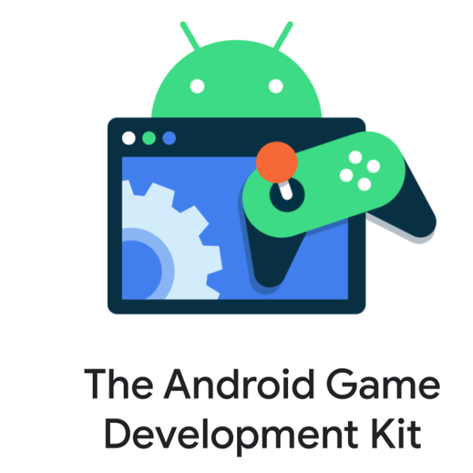 Graphic illustration with Android logo, games controller, and user interface.