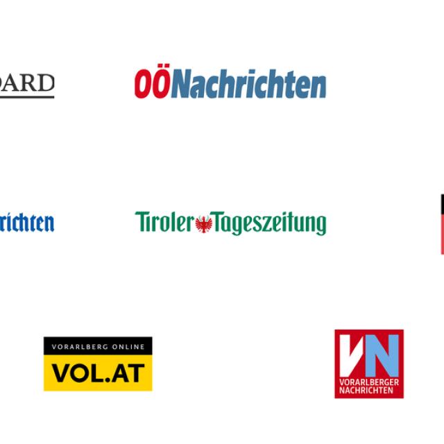 This image shows the logos of some of our Austria News Showcase partners including DerStandard, OÖNachrichten, Salzburger Nachrichten, Salzburg24, Vorarlberger Nachrichten, Vorarlberg Online, Vienna.at, Tiroler Tageszeitung