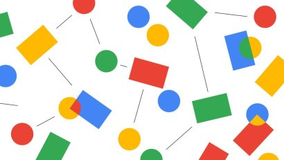 A random assortment of squares, circles and lines in Google's four colors: blue, green, yellow, and red