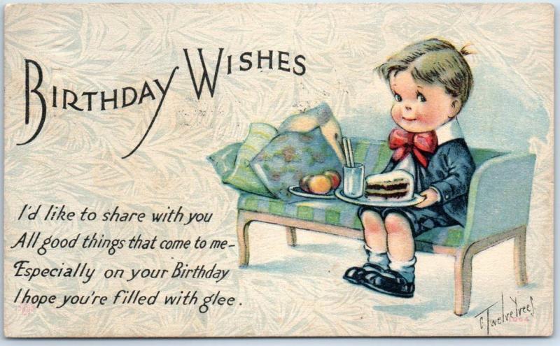 Vintage Happy Birthday Postcard Birthday Wishes Artist Signed Twelvetrees 1918 Hippostcard