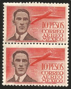 MEXICO C178, $10P, CAPT. EMILIO CARRANZA, PILOT. MINT, NH / HipStamp