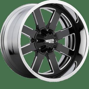 Moto Metal MO200 Gloss Black w/ Milled Center and Chrome Lip