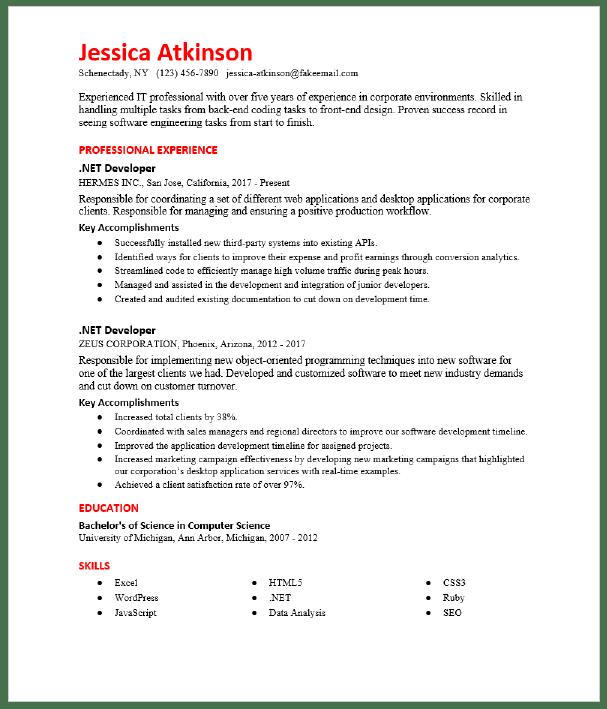 Net Developer Resume Sample Resumecompass
