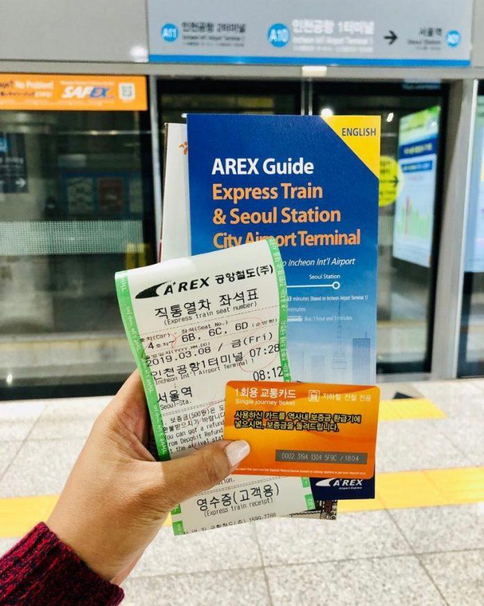 vé lên tàu arex đi từ sân bay incheon về seoul