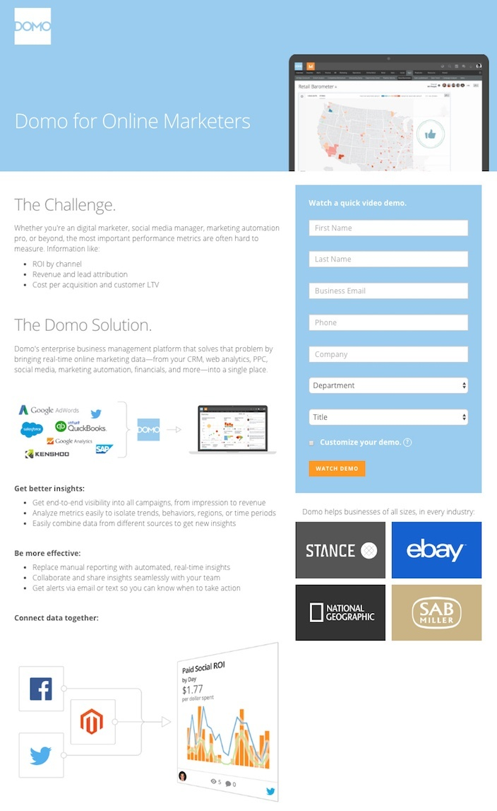 This picture shows marketers why Domo has one of the best landing pages you'll find online.
