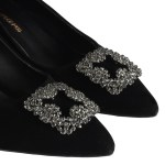 Women's Low Heeled Gemmed Black Shoes