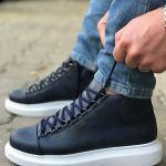 Men's Lace-up Navy Blue Boots