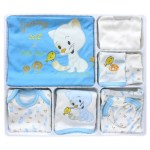 New Born Baby's Blue- White 10 Pieces Outfit Set