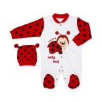 Baby's Ladybug Design White Red Romper & Beanie Set
