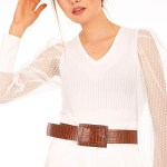 Women's Snake Pattern Brown Artificial Leather Thick Belt