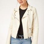 Women's Ecru Artificial Leather Jacket