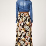 Denim Top Patterned Viscose Hem Long Dress