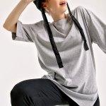 Women's Roll-up Sleeves Slit Shabby Grey T-shirt
