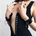 Women's Fantasy Leather Collar & Bracelet Set