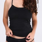 Lace Detailed Black Sleeveless T-shirt