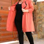 Women's Oversize Zipped Tile Red Jacket