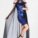 Women's Tulle Detail Mini Saxe Black Dress