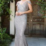 Women's Fish Model Sequin Mink Evening Dress