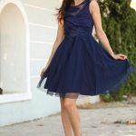 Women's Silvery Navy Blue Dress