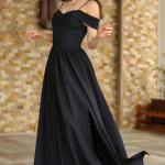 Women's Boat Neck Black Evening Dress