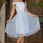 Boat Neck Blue Dress