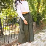 Women's Pleated Khaki Velvet Midi Skirt
