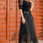 Belted Pleated Black Midi Skirt