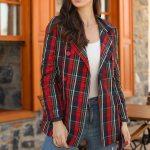 Women's Banded Waist Patterned Jacket & Coat
