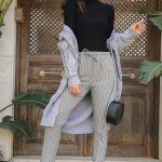 Women's Checkered Grey Classic Pants