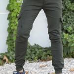 Men's Elastic Ankles Khaki Pants