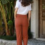 Women's Tile Red Rib Wide Legs Pants