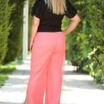 Women's Oversize Slit Tulle Neon Pink Wide Legs Pants