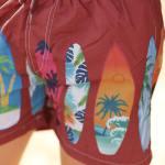 Men's Patterned Claret Red Swim Trunks