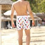 Men's Patterned White Swim Shorts