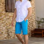 Men's Patterned Hem Turquoise Shorts