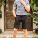 Men's Pocket Black Fabric Shorts