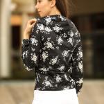 Women's Hooded Patterned Black Velvet Sweatshirt