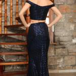 Women's Sequined Saxe 2 Piece Evening Skirt