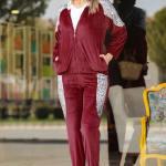 Women's Sequined Red Velvet Sweat Suit