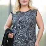 Women's Oversize Patterned Blouse Black Jacket Set