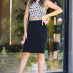 Women's Patterned Crop Blouse Short Skirt Set