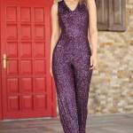 Women's Sequin Purple Overall