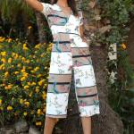 Front Wrap Model Patterned Overalls