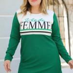 Women's Oversize Printed Front Green Sweatshirt
