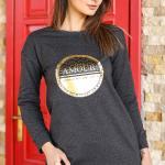 Women's Printed Anthracite Sweatshirt