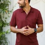 Men's Polo Collar Claret Red T-shirt