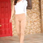 Pearl Embroidered Beige Nubuck Tights